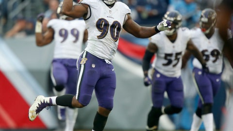 <p>               Baltimore Ravens linebacker Za'Darius Smith (90) celebrates after sacking Tennessee Titans quarterback Marcus Mariota and forcing a fumble in the first half of an NFL football game Sunday, Oct. 14, 2018, in Nashville, Tenn. The Titans recovered the ball on the play. (AP Photo/Wade Payne)             </p>