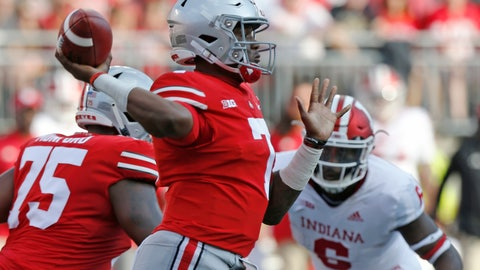 <p>               Ohio State quarterback Dwayne Haskins throws a pass against Indiana during the first half of an NCAA college football game Saturday, Oct. 6, 2018, in Columbus, Ohio. (AP Photo/Jay LaPrete)             </p>