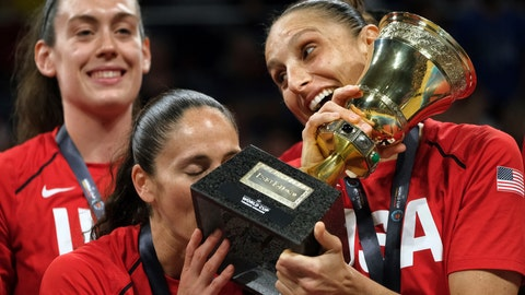 <p>               United States players celebrate after winning the Women's basketball World Cup final match between Australia and the U.S.A. in Tenerife, Spain, Sunday Sept. 30, 2018. (AP Photo/Andres Gutierrez)             </p>