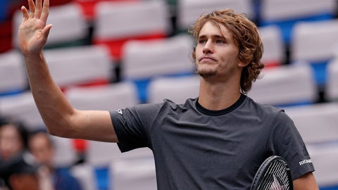 <p>               Alexander Zverev of Germany gestures to the spectators after winning his men's singles quarterfinals match against Kyle Edmund of Britain in the Shanghai Masters tennis tournament at Qizhong Forest Sports City Tennis Center in Shanghai, China, Friday, Oct. 12, 2018. (AP Photo/Andy Wong)             </p>