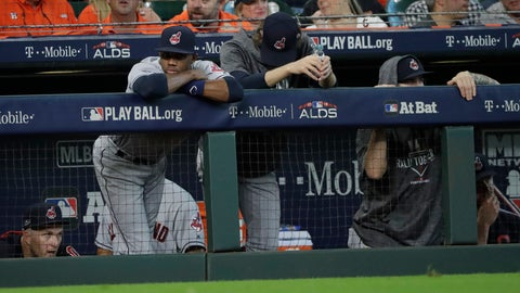<p>               FILE - In this Oct. 5, 2018, file photo, Cleveland Indians players watch from the dugout during the ninth inning  of their 7-2 loss in Game 1 of an American League Division Series baseball game against the Houston Astros, in Houston. For the third year in a row, the unmistakable aroma of champagne filled the visitor's clubhouse after the final game at Progressive Field. (AP Photo/David J. Phillip, File)             </p>