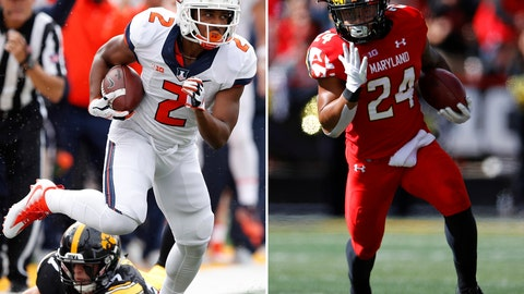 """<p>               FILE - At left, in an Oct. 7, 2017, file photo, Illinois running back Reggie Corbin (2) runs from Iowa defensive back Brandon Snyder during the first half of an NCAA college football game, in Iowa City, Iowa. At right, in an Oct. 13, 2018, file photo, Maryland running back Ty Johnson rushes the ball in the first half of an NCAA college football game against Rutgers,  in College Park, Md. When Illinois and Maryland meet on the football field for the first time Saturday, they will find the similarities in the teams run deep _ with emphasis on the word """"run."""" Led by junior Reggie Corbin, who averages 7.89 yards per carry, Illinois ranks third in the Big Ten with an average of 226.1 yards rushing per game. Maryland, behind the versatile Ty Johnson, is one notch back with 219.9.(AP Photo/File)             </p>"""