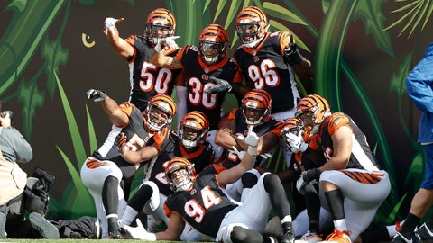 <p>               The Cincinnati Bengals defense celebrate a touchdown on an interception by free safety Jessie Bates (30) during the second half of an NFL football game against the Tampa Bay Buccaneers in Cincinnati, Sunday, Oct. 28, 2018. (AP Photo/Frank Victores)             </p>