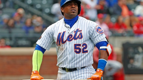 <p>               FILE - In this Sunday, April 1, 2018 file photo, New York Mets Yoenis Cespedes (52) holds his broken bat as he looks at a video replay of his flyout to deep left field during the third inning of a baseball game against the St. Louis Cardinals in New York. Mets outfielder Yoenis Cespedes had surgery to remove bone calcification in his left heel, the second of two foot operations New York hopes will enable him to return to action at some point next year.  (AP Photo/Kathy Willens, File)             </p>