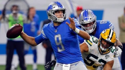 <p>               FILE - In this Sunday, Oct. 7, 2018, file photo, Detroit Lions quarterback Matthew Stafford (9) throws against the Green Bay Packers during an NFL football game in Detroit, Stafford threw four interceptions in the season opener but has only one since. (AP Photo/Paul Sancya, File)             </p>