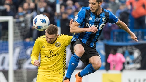 <p>               Montreal Impact's Alejandro Silva, right, challenges Columbus Crew SC's Wil Trapp during second half MLS soccer action in Montreal, Saturday, Oct. 6, 2018. (Graham Hughes/The Canadian Press via AP)             </p>