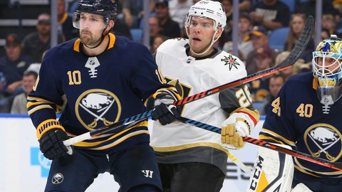 <p>               Buffalo Sabres forward Patrik Berglund (10) and Vegas Golden Knights forward Paul Stastny (26) battle in front of net during the second period of an NHL hockey game, Monday, Oct. 8, 2018, in Buffalo N.Y. (AP Photo/Jeffrey T. Barnes)             </p>