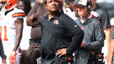 <p>               Cleveland Browns head coach Hue Jackson watches from the sideline during the first half of an NFL football game against the Oakland Raiders in Oakland, Calif., Sunday, Sept. 30, 2018. (AP Photo/Ben Margot)             </p>