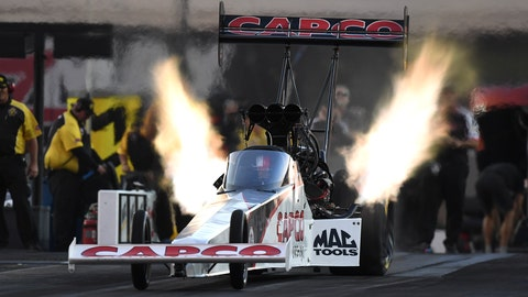 <p>               In this photo provided by the NHRA, Top Fuel racer Steve Torrence remains the dominant car in the category on Friday, Oct. 12, 2018, and races to the provisional qualifying lead in his category at the NHRA Carolina Nationals in Charlotte, N.C. (Marc Gewertz/NHRA via AP)             </p>