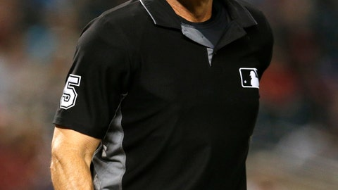 <p>               FILE - In this Sept. 3, 2018 file photo, MLB umpire Angel Hernandez (5) is seen in the first inning during a game between the Arizona Diamondbacks the San Diego Padres, in Phoenix. Calls by first base umpire Hernandez were overturned in three of four video reviews during the Boston's 16-1 rout of the New York Yankees in Game 3 of the AL Division Series Monday, Oct. 8, 2018. (AP Photo/Rick Scuteri, File)             </p>
