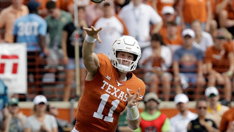 <p>               Texas quarterback Sam Ehlinger (11) throws against Baylor during the first half of an NCAA college football game, Saturday, Oct. 13, 2018, in Austin, Texas. (AP Photo/Eric Gay)             </p>