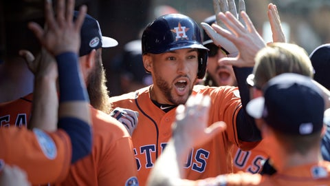 <p>               Houston Astros' George Springer is congratulated by teammates after hitting a solo home run off Cleveland Indians starting pitcher Mike Clevinger in the fifth inning during Game 3 of baseball's American League Division Series, Monday, Oct. 8, 2018, in Cleveland. (AP Photo/David Dermer)             </p>