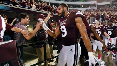 <p>               FILE - In this Saturday, Oct. 6 2018, file photo, Mississippi State defensive end Montez Sweat (9) celebrates with fans following the team's NCAA college football game against Auburn in Starkville, Miss. No. 24 Mississippi State has some problems to fix during its off week, but they're mostly on the offensive end. The Bulldogs' defense has been elite and is giving up just 12.7 points per game, which ranks No. 1 in the country. (AP Photo/Rogelio V. Solis, File)             </p>