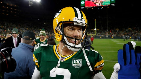 <p>               Green Bay Packers kicker Mason Crosby (2) celebrates after an NFL football game against the San Francisco 49ers Monday, Oct. 15, 2018, in Green Bay, Wis. The Packers won 33-30. Crosby kicked a game winning field goal. (AP Photo/Matt Ludtke)             </p>