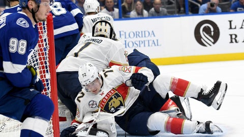 <p>               Florida Panthers center Frank Vatrano (72) falls on the right leg of goaltender Roberto Luongo (1) during the second period of an NHL hockey game against the Tampa Bay Lightning Saturday, Oct. 6, 2018, in Tampa, Fla. Luongo would leave the game with an injury. (AP Photo/Jason Behnken)             </p>