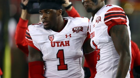 <p>               Utah's Tyrone Young-Smith, right, congratulates Jaylon Johnson (1) after Johnson scored a touchdown against Stanford during the first half of an NCAA college football game Saturday, Oct. 6, 2018, in Stanford, Calif. (AP Photo/Ben Margot)             </p>