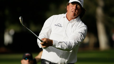 <p>               Phil Mickelson watches his shot from the fairway to the 18th green of the Silverado Resort North Course during the first round of the Safeway Open PGA golf tournament Thursday, Oct. 4, 2018, in Napa, Calif. Mickelson shot a 7-under-par 65. (AP Photo/Eric Risberg)             </p>