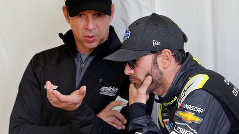 <p>               FILE - In this Friday, April 20, 2018, file photo, Jimmie Johnson, right, listens to crew chief Chad Knaus, as they wait for their car to get through inspection prior to qualifying for the NASCAR Cup Series auto race at Richmond Raceway in Richmond, Va. There will be no eighth NASCAR title for Johnson and Knaus. Hendrick Motorsports will split the driver and crew chief at the end of this season, the team announced Wednesday, Oct. 10, 2018.  (AP Photo/Steve Helber, FIle)             </p>