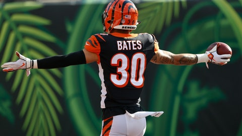 <p>               Cincinnati Bengals free safety Jessie Bates (30) celebrates a touchdown on an interception against the Tampa Bay Buccaneers during the second half of an NFL football game in Cincinnati, Sunday, Oct. 28, 2018. (AP Photo/Gary Landers)             </p>