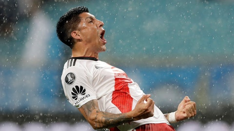 <p>               Enzo Perez of Argentina's River Plate celebrates after River defeated Brazil's Gremio during a semifinal second leg match of the Copa Libertadores in Porto Alegre, Brazil, Tuesday, Oct. 30, 2018. River advances to the final. (AP Photo/Andre Penner)             </p>