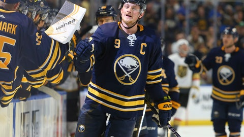 <p>               Buffalo Sabres forward Jack Eichel (9) celebrates his goal during the first period of an NHL hockey game against the Vegas Golden Knights, Monday, Oct. 8, 2018, in Buffalo N.Y. (AP Photo/Jeffrey T. Barnes)             </p>