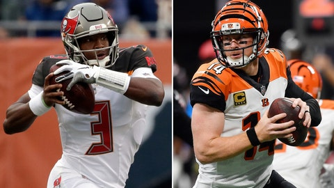 <p>               FILE - At left, in a Sept. 30, 2018, file photo, Tampa Bay Buccaneers quarterback Jameis Winston (3) runs during the second half of an NFL football game against the Chicago Bears, in Chicago. At right, also in a Sept. 30, 2018, file photo, Cincinnati Bengals quarterback Andy Dalton (14) works against the Atlanta Falcons during the second half of an NFL football game, in Atlanta. The Buccaneers fired their defensive coordinator and got a better showing _ and a win _ the next time out. The Bengals are coming off their second-worst drubbing during coach Marvin Lewis' 16 seasons. There's a lot at stake for both heading into their game Sunday. (AP Photo/File)             </p>