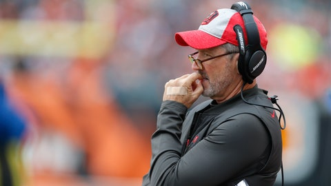 <p>               Tampa Bay Buccaneers head coach Dirk Koetter watches from the sidelines during the first half of an NFL football game against the Cincinnati Bengals in Cincinnati, Sunday, Oct. 28, 2018. (AP Photo/Gary Landers)             </p>