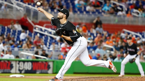 <p>               FILE - In this Sept. 21, 2018, file photo, Miami Marlins' Kyle Barraclough delivers a pitch during the 10th inning of a baseball game against the Cincinnati Reds, in Miami. The Washington Nationals picked up righty reliever Kyle Barraclough from Miami in their first offseason move to rebuild the bullpen. The Nationals said Wednesday, Oct. 10, 2018, that they gave the Marlins international slot value in the deal. (AP Photo/Wilfredo Lee, File)             </p>