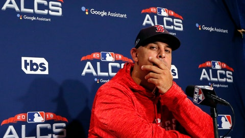 <p>               Boston Red Sox manager Alex Cora listens to a question during a news conference at a baseball workout, Thursday, Oct. 11, 2018, in Boston. The Red Sox face the Houston Astros in Game 1 of baseball's American League Championship Series on Saturday at Fenway Park in Boston. (AP Photo/Elise Amendola)             </p>