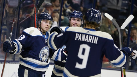 <p>               Columbus Blue Jackets' Cam Atkinson, left, celebrates his goal against the Philadelphia Flyers with teammates Ryan Murray, center, and Artemi Panarin, of Russia, during the second period of an NHL hockey game Thursday, Oct. 18, 2018, in Columbus, Ohio. (AP Photo/Jay LaPrete)             </p>