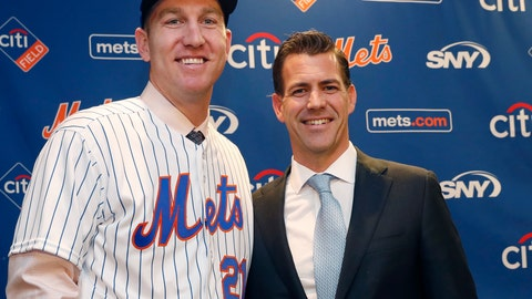 <p>               FILE - In this Wednesday, Feb. 7, 2018, file photo, New York Mets newly-signed third baseman Todd Frazier, left, poses for photographers with his agent, Brodie Van Wagenen, after the former New York Yankees third baseman signed with the Mets, in New York. Van Wagenen interviewed Monday, Oct. 22, 2018, to switch sides and become general manager of the New York Mets and is among three finalists along with former Milwaukee GM Doug Melvin and Tampa Bay senior vice president of baseball operations Chaim Bloom. (AP Photo/Kathy Willens, File)             </p>