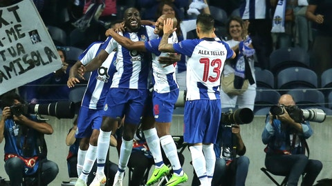 <p>               Porto forward Moussa Marega, center left, celebrates after scoring the opening goal during the Champions League group D soccer match between FC Porto and Galatasaray at the Dragao stadium in Porto, Portugal, Wednesday, Oct. 3, 2018. (AP Photo/Manuel Araujo)             </p>