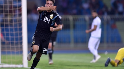 <p>               Argentina's Franco Cervi celebrates scoring his side's fourth goal during a friendly soccer match between Argentina and Iraq at Prince Faisal bin Fahd stadium in Riyadh, Saudi Arabia, Thursday, Oct. 11, 2018. (AP Photo)             </p>