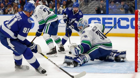 <p>               Vancouver Canucks goaltender Anders Nilsson, of Sweden, makes a save against Tampa Bay Lightning's Steven Stamkos during the second period of an NHL hockey game Thursday, Oct. 11, 2018, in Tampa, Fla. (AP Photo/Mike Carlson)             </p>
