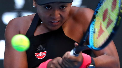 <p>               Naomi Osaka of Japan hits a return shot while competing against Anastasija Sevastova of Latvia in their women's singles semifinal match in the China Open at the National Tennis Center in Beijing, Saturday, Oct. 6, 2018. (AP Photo/Mark Schiefelbein)             </p>