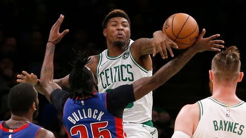 <p>               Boston Celtics guard Marcus Smart (36) fouls Detroit Pistons guard Reggie Bullock (25) as he tries to block a shot during the first half of an NBA basketball game, Tuesday, Oct. 30, 2018, in Boston. (AP Photo/Mary Schwalm)             </p>