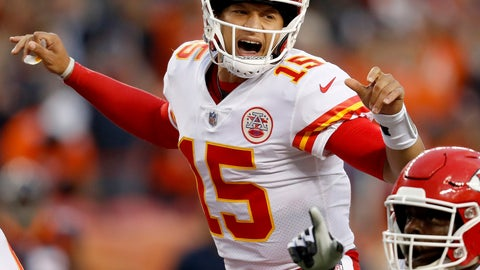 """<p>               FILE - In this Oct. 1, 2018, file photo, Kansas City Chiefs quarterback Patrick Mahomes (15) makes a call against the Denver Broncos during the first half of an NFL football game, in Denver. Chiefs wide receiver Tyreek Hill called his quarterback slow. Their coach, Andy Reid, said his quarterback's voice was """"froggish."""" And Patrick Mahomes insists he can dish the trash talk just as well as he can receive it. It's all part of a unique locker-room banter that has helped keep things light as Kansas City rolls up win after win. (AP Photo/David Zalubowski, File)             </p>"""