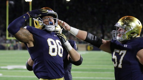 <p>               Notre Dame tight end Alize Mack (86) salutes the fans after his 35-yard reception for a touchdown during the second half of an NCAA college football game against Stanford, Saturday, Sept. 29, 2018, in South Bend, Ind. (AP Photo/Carlos Osorio)             </p>
