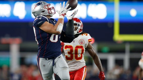 <p>               New England Patriots tight end Rob Gronkowski, left, catches a pass in front of Kansas City Chiefs safety Josh Shaw (30) during the second half of an NFL football game, Sunday, Oct. 14, 2018, in Foxborough, Mass. (AP Photo/Michael Dwyer)             </p>