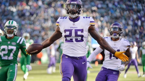 <p>               Minnesota Vikings running back Latavius Murray (25) celebrates after rushing for a 38-yard touchdown during the second half of an NFL football game against the New York Jets Sunday, Oct. 21, 2018, in East Rutherford, N.J. (AP Photo/Howard Simmons)             </p>