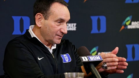 <p>               Duke coach Mike Krzyzewski speaks to members of the media during an NCAA college basketball media day press conference in Durham, N.C., Monday, Oct. 15, 2018. (AP Photo/Gerry Broome)             </p>