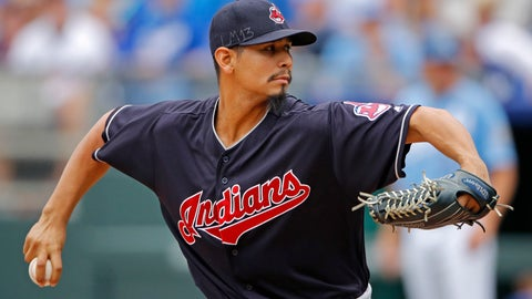 <p>               FILE - In this Sept. 30, 2018, file photo, Cleveland Indians pitcher Carlos Carrasco throws during the first inning of a baseball game against the Kansas City Royals, in Kansas City, Mo. The Indians have picked up their $9.75 million contract option on Carlos Carrasco for next season. (AP Photo/Charlie Riedel, File)             </p>
