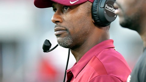 <p>               Florida State head coach Willie Taggert looks at the game clock late in the second half of an NCAA college football game against Louisville, Saturday, Sept. 29, 2018, in Louisville, Ky. Florida State won 28-24. (AP Photo/Timothy D. Easley)             </p>