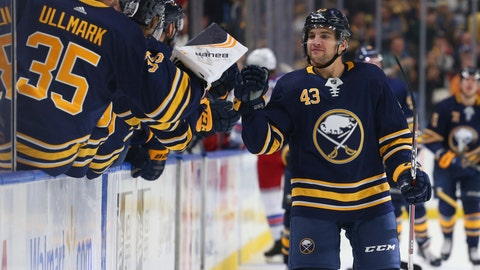 <p>               Buffalo Sabres forward Conor Sheary (43) celebrates his goal during the first period of an NHL hockey game against the New York Rangers, Saturday, Oct. 6, 2018, in Buffalo N.Y. (AP Photo/Jeffrey T. Barnes)             </p>