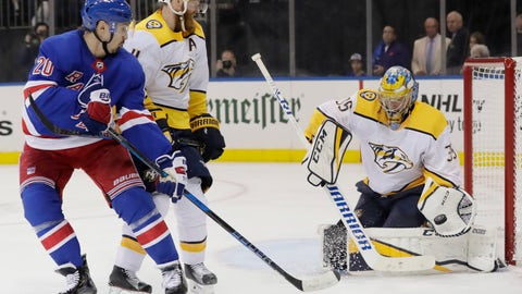 <p>               Nashville Predators goaltender Pekka Rinne (35) stops a shot by New York Rangers' Chris Kreider (20) during the second period of an NHL hockey game Thursday, Oct. 4, 2018, in New York. (AP Photo/Frank Franklin II)             </p>