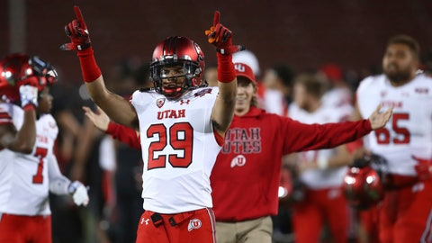 <p>               Utah's Tre Strong (29) celebrates at the end of an NCAA college football game against Stanford on Saturday, Oct. 6, 2018, in Stanford, Calif. Utah won 40-21. (AP Photo/Ben Margot)             </p>