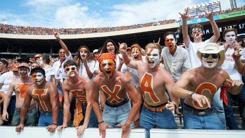 <p>               Texas fans cheer for their team against Oklahoma in the second half of an NCAA college football game at the Cotton Bowl, Saturday, Oct. 6, 2018, in Dallas. (AP Photo/Cooper Neill)             </p>