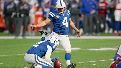 <p>               Indianapolis Colts kicker Adam Vinatieri (4) misses an extra point from he hold of Rigoberto Sanchez during the second half of an NFL football game against the Buffalo Bills in Indianapolis, Sunday, Oct. 21, 2018. (AP Photo/AJ Mast)             </p>