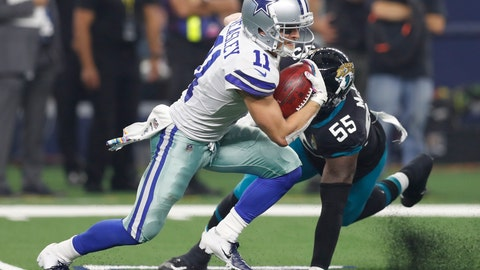 <p>               Dallas Cowboys wide receiver Cole Beasley (11) avoids a tackle by Jacksonville Jaguars defensive end Lerentee McCray (55) in the second half of an NFL football game in Arlington, Texas, Sunday, Oct. 14, 2018. (AP Photo/Jim Cowsert)             </p>