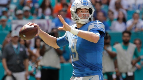 <p>               Detroit Lions quarterback Matthew Stafford (9) looks to pass, during the first half of an NFL football game against the Miami Dolphins, Sunday, Oct. 21, 2018, in Miami Gardens, Fla. (AP Photo/Lynne Sladky)             </p>